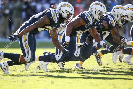 Carson, CA...Los Angeles Chargers safety Rayshawn Jenkins #25 running back Andre Williams #44 rushing on special teams during the NFL Buffalo Bills vs Los Angeles Chargers at the Stubhub Center in Carson, Ca on , 2017. (Absolute Complete Photographer & Company Credit: Jevone Moore / Cal Sport Media (Network Television please contact your Sales Representative for Television usage
