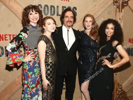 "Audrey Moore, Kayli Carter, Kim Coates, Christiane Seidel, Jessica Sula. Audrey Moore, from left, Kayli Carters, Kim Coates, Christiane Seidel and Jessica Sula attend the premiere of Netflix's ""Godless"" at Metrograph, in New York"