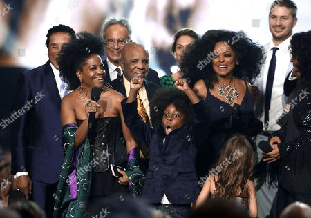 Diana Ross, Rhonda Ross Kendrick, Raif-Henok Emmanuel Kendrick. Rhonda Ross Kendrick, from left, speaks and her son Raif-Henok Emmanuel Kendrick reacts as Diana Ross accepts the lifetime achievement award at the American Music Awards at the Microsoft Theater, in Los Angeles