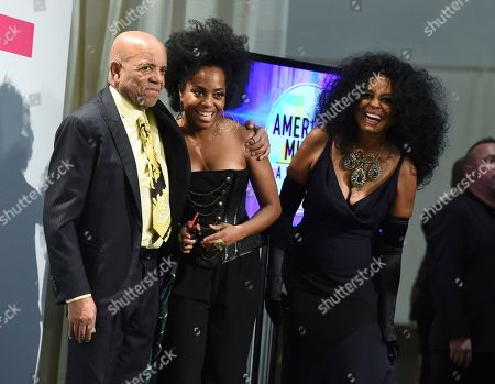 Diana Ross, Berry Gordy, Rhonda Ross Kendrick. Diana Ross, lifetime achievement award winner, from right, Rhonda Ross Kendrick, and Berry Gordy pose in the press room at the American Music Awards at the Microsoft Theater, in Los Angeles