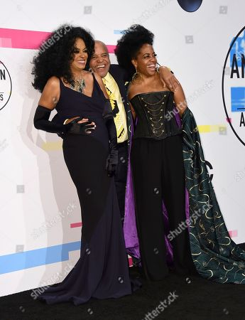 Diana Ross, Berry Gordy, Rhonda Ross Kendrick. Diana Ross, lifetime achievement award winner, from left, Berry Gordy, and Rhonda Ross Kendrick pose in the press room at the American Music Awards at the Microsoft Theater, in Los Angeles