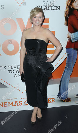 Cecelia Ahern poses for photographers upon arrival at the after party for the premiere of the film Love, Rosie, at Bounce in central London