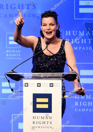 Actress Pauley Perrette addresses the audience at the Human Rights Campaign 2016 Los Angeles Gala Dinner at the JW Marriott LA Live, in Los Angeles