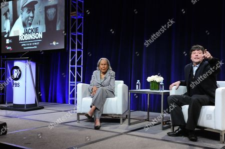 "Rachel Robinson, widow of baseball legend Jackie Robinson, left, and filmmaker Ken Burns participate in the ""Jackie Robinson"" panel at the PBS Winter TCA in Pasadena, Calif. The two-part film directed by Burns, Sarah Burns and David McMahon airs Monday and Tuesday at 9 p.m. on most PBS stations"
