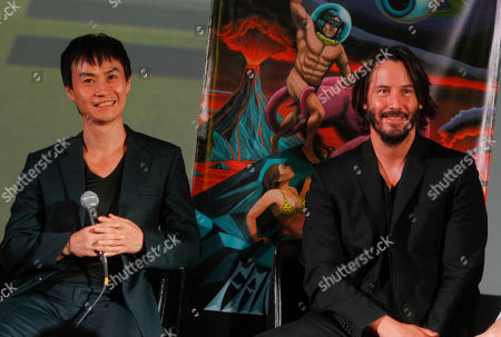 """Stock Photo of Man of Tai Chi"""" director Keanu Reeves, right, and actor Tiger Chen answer audience questions following the 2013 Fantastic Fest US premiere of the film at the Alamo Drafthouse Cinema on in Los Angeles"""