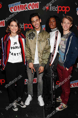Actress Sophie Hawkins, actor Fady Elsayed, actress Vivian Oparah, and actor Greg Austin are seen at the BBC America Comic Con Panel at Madison Square Garden Theater on in New York City