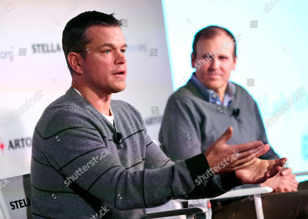 Actor Matt Damon, left, co-founder of Water.org, takes part in a panel discussion on the global water crisis with fellow co-founder Gary White during the 2016 Sundance Film Festival, in Park City, Utah