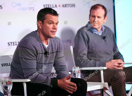 Actor Matt Damon, left, and Gary White, co-founders of Water.org, take part in a panel discussion on the global water crisis at the 2016 Sundance Film Festival, in Park City, Utah