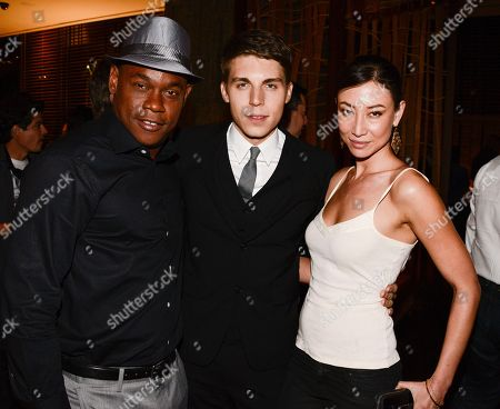 """From left to right, actor Bokeem Woodbine, actor Nolan Gerard Funk, and actress Mei Melancon attend the after party for the world premiere of """"Riddick"""" at the Regency Village Theatre on in Los Angeles"""