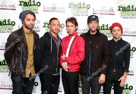 Marc Walloch, from left, Kenny Carkeet, Zach Irons, Aaron Bruno and Isaac Carpenter of the band AWOLNATION visit the Radio 104.5 Performance Theater, in Philadelphia