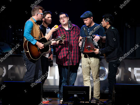 Ben McDonald, Justin Nace, Dave Frey, Cal Joslin and Shaun Tomczak of Dove Award-winning Christian band Sidewalk Prophets performed as part of the Thrive Tour with Casting Crown and Mandisa at the First Baptist Church of Woodstock, in Woodstock, Ga