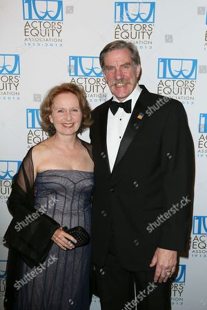 From left, actress Kate Burton and Nick Wyman, President Actors' Equity pose during the arrivals for the Actors' Equity 100th Anniversary Gala at the Loews Hollywood Hotel, in Los Angeles, Calif