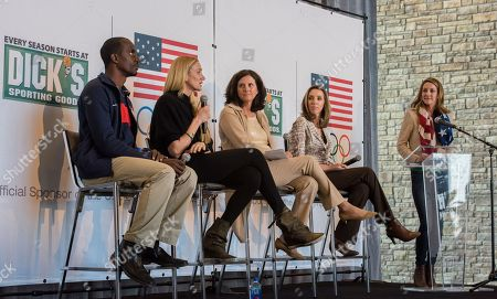 U. S. Olympians Summer Sanders (far right) introduces the panel, Athlete ambassadors Lex Gillette (far left) and Kerri Walsh Jennings