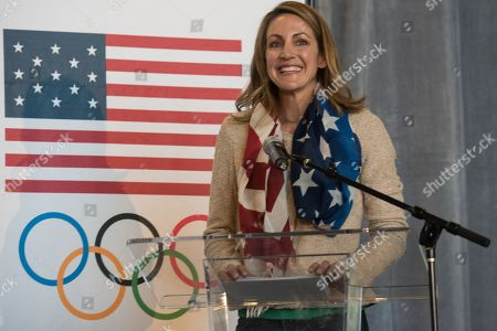 U. S. Olympians Summer Sanders introduces the panel at the press conference to announce DICK'S Sporting Goods new partnership agreement with the U.S. Olympic Committee at DICK'S Store Support Center