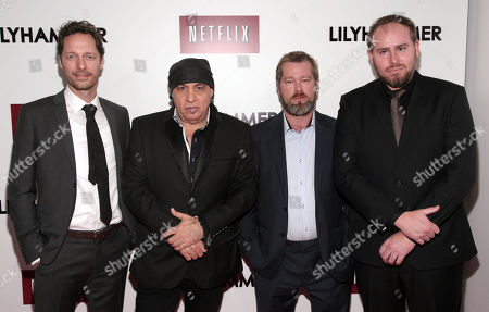 "From left, actors Trond Fausa, Steven Van Zandt, Fridtjov Saheim and Tommy Karlsen Sandum attend a screening of the Netflix television series ""Lilyhammer"" on in New York"