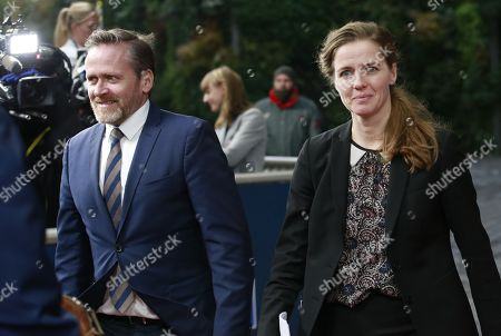 Danish Foreign Minister Anders Samuelson (L) and Danish Health minister Ellen Trane Norby ahead of European general affairs council article 50 focus on European Medicines Agency (EMA) in Brussels, Belgium, 20 November 2017. EU Member States will select today the new host city for the European Medicines Agency (EMA) following Brexit.