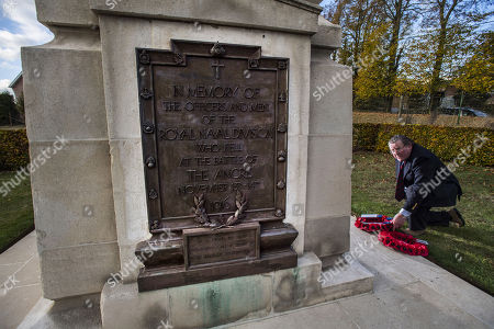 Stock Photo of Vyvyan Harmsworth Lays A Wreath On Behalf Of The Rothermere Family At The Royal Naval Div. Memorial At Beaucourt France. Officer Vere Harmsworth Son Of Lord Rothermere Died In The Battle Of Ancre. The Last British Attack On The German Lines In The Battle Of The Somme In Nov. 1916.