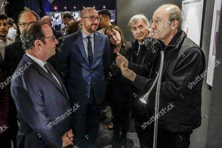 Francois Hollande, Charles Michel, Pierre Kroll, Jean Plantu and Philippe Geluck