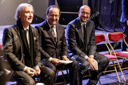 Stock Image of Jean Plantu, Francois Hollande and Charles Michel