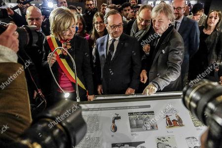 Stock Photo of Francoise Schepmans, Francois Hollande, Pierre Kroll, Jean Plantu and Charles Michel