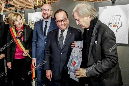 Stock Picture of Philippe Geluck, Francoise Schepmans, Charles Michel, Francois Hollande and Jean Plantu