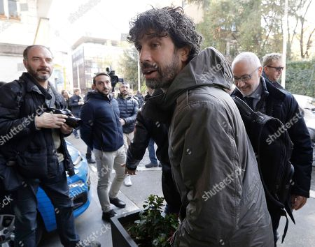Damiano Tommasi, president of the Italian Footballers' Association arrives for a meeting at the Italian Football Federation headquarters in Rome, . Italian football federation president Carlo Tavecchio has resigned Monday, after failure to qualify for World Cup