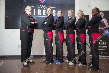 Stock Image of Coach Tayna Dearns with players  Ella Gibbons, Jo Pettitt, Sara Bayman, Emily Nicholl, Vanessa Walker