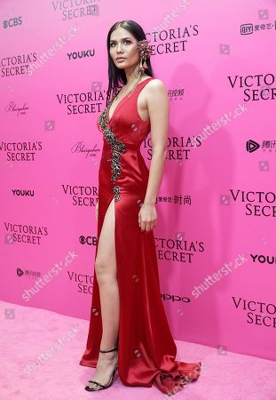 Thai model Chalita Suansane poses for photos during the pink carpet ahead of the Victoria's Secret fashion show at the Mercedes-Benz Arena in Shanghai, China