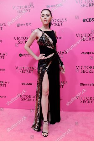 Stock Image of Thai model and actress Davika Hoorne poses for photos during the pink carpet ahead of the Victoria's Secret fashion show at the Mercedes-Benz Arena in Shanghai, China
