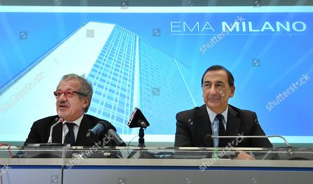 Roberto Maroni (L), President of nothern Italy's Lombardy region, and Milan's MAyor Giusepppe Sala (R)  give a press conference on the occasion of the draw for the host city for European Medicines Agency (EMA), in Milan, Italy, 20 November 2017. The EU decided to relocate the European Medicines Agency (EMA) to Amsterdam, not Milan by drawing the name from a hat in Brussels after Milan and Amsterdam were awarded the same amount of votes. The EMA needs to be relocated from London as the United Kingdom chose to trigger Article 50 and leave the EU, dubbed Brexit'.