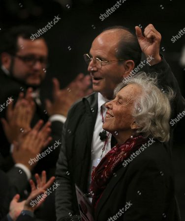 Elena Poniatowska, Alejandro Solalinde. Migrant Rights Activist Father Alejandro Solalinde, top, and Mexican author Elena Poniatowska, are singled out by Presidential hopeful Andres Manuel Lopez Obrador at a rally in the National Auditorium in Mexico City, . Lopez Obrador, making his third bid for Mexico's presidency, laid out his platform for next year's presidential elections