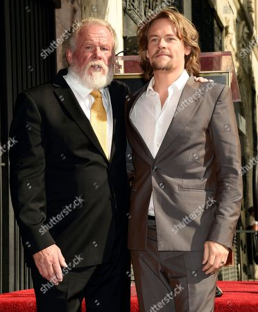 Nick Nolte, Brawley Nolte. Actor Nick Nolte poses with his son Brawley following a ceremony to award him a star on the Hollywood Walk of Fame, in Los Angeles
