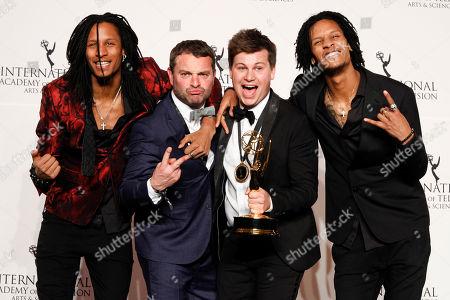 "Kamiel De Bruyne, Wim Janseen, Les Twins. Belgian format creator Kamiel De Bruyne and executive producer Wim Janseen with Les Twins and the award for best non-scripted entertainment in ""Sorry Voor Alles"""