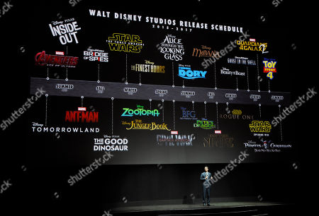 Dave Hollis, executive vice president of theatrical exhibition sales and distribution for Walt Disney Studios, talks about the studio's upcoming release schedule during the studio's presentation at CinemaCon 2015 at Caesars Palace, in Las Vegas