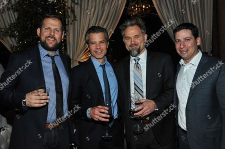 """Presidents, Original Programming for FX Networks and FX Prods. Nck Grad, left, and Eric Schrier, right, Timothy Olyphant, second from left, and David Meunier, second from right, attend the after party for the LA Premiere Screening of """"Justifiedâ?? at RivaBella on in West Hollywood, Calif"""