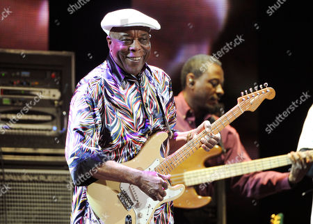 Blues guitarist Buddy Guy performing at Eric Clapton's Crossroads Guitar Festival 2013 in New York. The Musicians Hall of Fame inducted 12 new members, across the genres, including bluesman Buddy Guy, British rock guitarist Peter Frampton and pedal steel player and country singer Barbara Mandrell