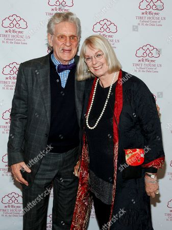 Stock Image of Dr. Robert A.F. Thurman, left, and Nena Thurman, right, attend the 12th Annual Tibet House Benefit Auction at Christie's, in New York
