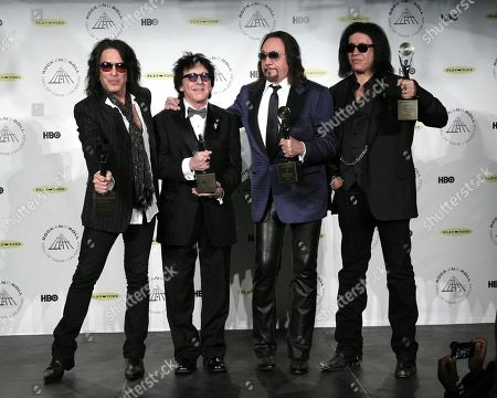 Hall of Fame Inductees Kiss original band members Paul Stanley, Peter Criss, Ace Frehley, and Gene Simmons appear in the press room at the 2014 Rock and Roll Hall of Fame Induction Ceremony on Thursday, April, 10, 2014, in New York