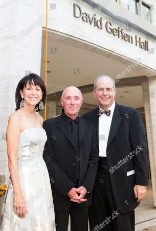 Stock Image of Lincoln Center Chair Katherine Farley, David Geffen, Lincoln Center President Jed Bernstein, pose for Renaming Ceremony for David Geffen Hall, on in New York