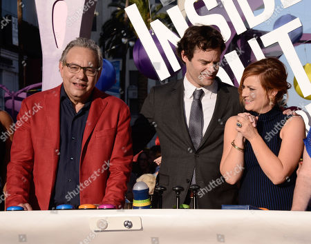 """Lewis Black, from left, Bill Hader and Amy Poehler attend the Los Angeles premiere of """"Inside Out"""" at the El Capitan Theatre in Los Angeles. Black's Anger stars alongside Fear (Hader), Disgust (Mindy Kaling), Sadness (Phyllis Smith) and Joy (Poehler) in the Disney-Pixar animated feature out June 19"""