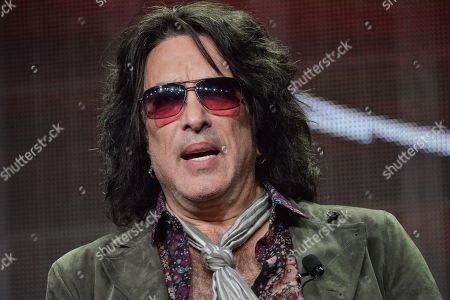 "Paul Stanley speaks onstage during the ""4th and Loud"" portion of the AMC 2014 Summer TCA in Beverly Hills, Calif. Shoulder surgery has prevented Stanley from performing an intimate show with KISS. Gene Simmons, Ace Frehley and Peter Criss donned their classic stage makeup and costumes to play a four-song set, to benefit multiple sclerosis research"