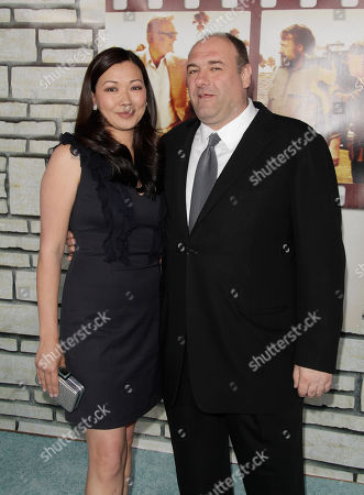Actor James Gandolfini (R) and wife Deborah Lin attend the premiere of 'Cinema Verite' at Paramount Theater on the Paramount Studios lot on in Hollywood, California