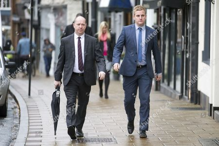 Corpus Christi Catholic school head teacher (left) Steve Moat & teacher Andrew Kellett (right) arrive at Wakefield Coroners Court this morning for the seventh & final day of the Ann Maguire inquest.