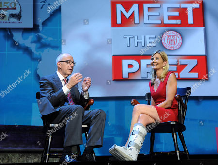 Cornell alumna and NBC News correspondent Kate Snow interviews Cornell president David J. Skorton during an event celebrating the kick-off of Cornell University's 150th anniversary year, at Jazz at Lincoln Center in New York