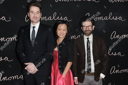 "Co-director/producer Duke Johnson, from left, producer Rosa Tran and writer-co-director-producer Charlie Kaufman attend a special screening of ""Anomalisa"" held at Grauman's Egyptian Theatre, in Los Angeles. The film opens in U.S. theaters in Jan. 2016"