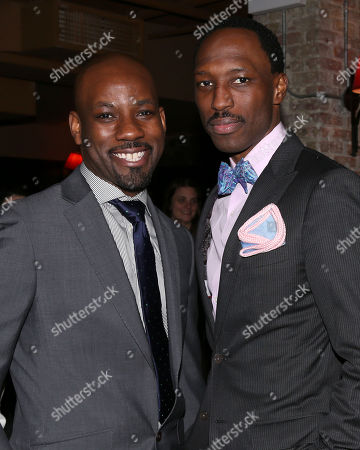 """Stock Picture of From left, actors Maurice Jones and Carl Hendrick Louis attend the """"Little Children Dream of God"""" opening night party at HB Burger, in New York"""