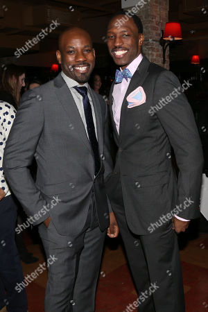 """Stock Photo of From left, actors Maurice Jones and Carl Hendrick Louis attend the """"Little Children Dream of God"""" opening night party at HB Burger, in New York"""