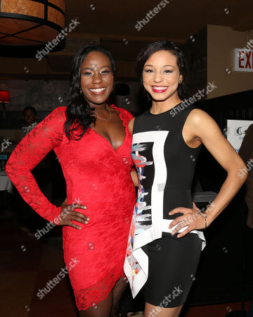 "From left, actors Crystal Lucas-Perry and Carra Patterson attend the ""Little Children Dream of God"" opening night party at HB Burger, in New York"
