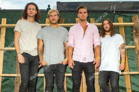 Rubin Pollock, from left, Daniel Kristjansson, JJ Julius Son, and David Antonsson of Kaleo pose backstage during the Life is Beautiful festival in Las Vegas. While Bjork may be Iceland's best-known musical export, a four-part rock band is making waves in the U.S. with their bluesy rock sound