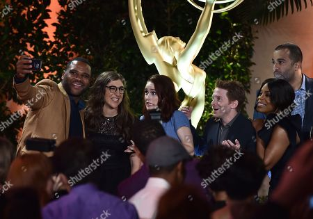 From left, Anthony Anderson, Mayim Bialik, Rachel Brosnahan, Seth Green, Niecy Nash, and Anthony Mendez attend the Television Academy's 67th Emmy Performance Peer Group Celebration at the Montage Beverly Hills on in Beverly Hills, Calif